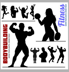 Silhouettes of bodybuilders and fitness girls vector