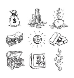 sketch style finance money set sack dollars vector image