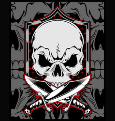 skull with cross sword hand drawing vector image