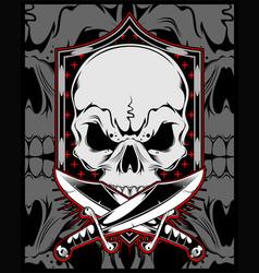 Skull with cross sword hand drawing vector
