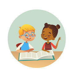 Smiling multiracial boy and girl reading books and vector