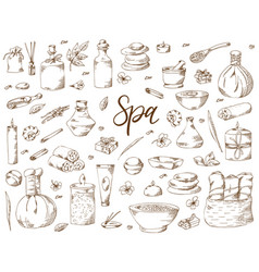 spa treatment hand drawn elements on white vector image