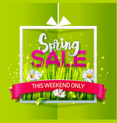 spring sale banner with red ribbon vector image