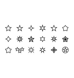 stars line icons different types decoration vector image