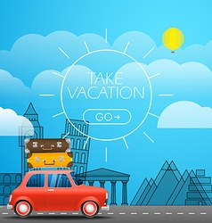 Take Vacation travelling concept Flat design Red vector image