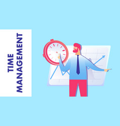 Time management strategy flat vector