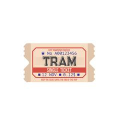 Tram single ticket city transport service card vector