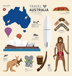Travel Concept Australia Landmark Flat Icons vector image