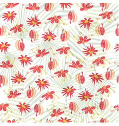 Tropical flower seamless pattern background vector