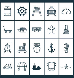 Vehicle icons set with ship hook railroad air vector