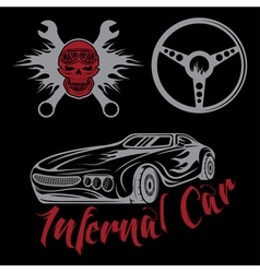 vintage label sport car theme with carflameskull vector image