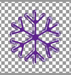 Violet purple transparent snowflake silhouette vector