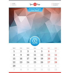 Wall calendar 2016 february template with abstract vector