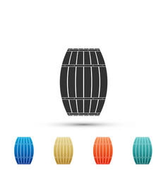 wooden barrel icon isolated on white background vector image
