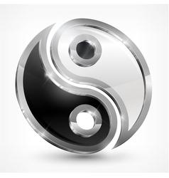 Yin yang metallic symbol vector image