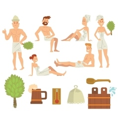 Young couple relaxing in spa health care concept vector
