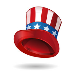 hat in american flag color uncle sams hat vector image vector image