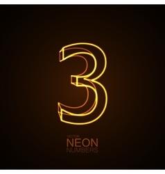 Neon 3D number 3 vector image vector image