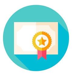 Paper Diploma with Award Circle Icon vector image