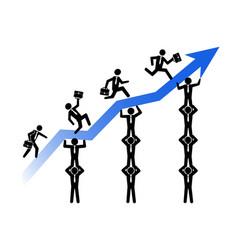 teamwork helps business growing up vector image vector image