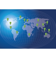 World map social network concept vector image vector image