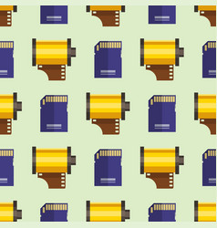 Camera photo memory card seamless pattern vector