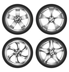Car wheel set vector image