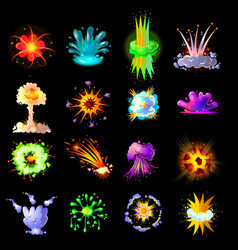 cartoon colorful explosions collection vector image