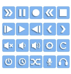 Flat Player Icons with Shadow vector image vector image