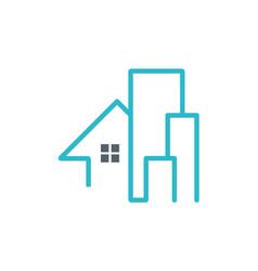 House building line company logo vector