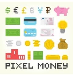 Pixel art money set vector image vector image