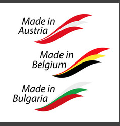 simple logos made in austria made in belgium and vector image vector image