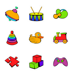children toy icons set cartoon style vector image