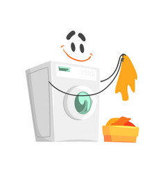 funny washing machine character with smiling face vector image vector image