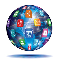 Internet Concept Globe Application icons vector image vector image