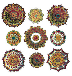 mandala colorful set vector image vector image