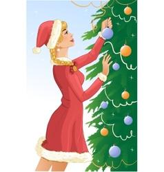 Santa girl decorates a christams tree with balls vector image vector image