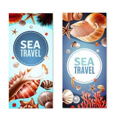 Seashell banners set vector