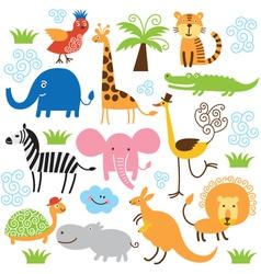 Set of cute tropical animals vector