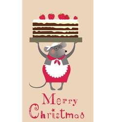 2776 Christmas mouse with cake vector image