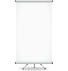 Blank roll up banner display on white background vector image