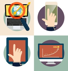 Electronic Device Flat Icons computer laptop vector image vector image