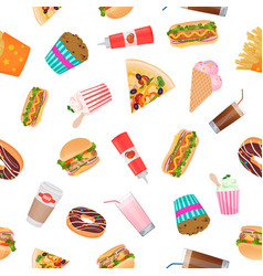 realistic flat pattern of fast food vector image