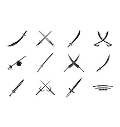 sword icon set simple style vector image