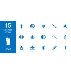 15 heat icons vector image