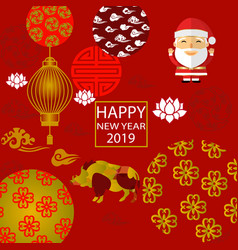 2019 new year santa claus year of the boar vector image