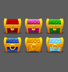 a set brightly colored gold soft chests for the vector image