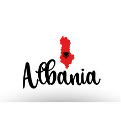 Albania country big text with flag inside map vector