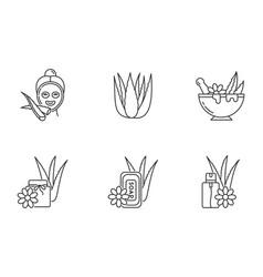 Aloe vera pixel perfect linear icons set facial vector