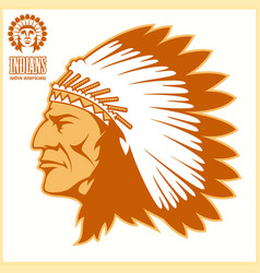 american native chief head vector image